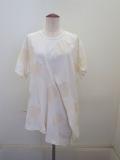 Y's YOHJI YAMAMOTO (ワイズ ヨウジヤマモト) 強撚リンクス水玉カットジャガードドレープ半袖Tシャツ:ホワイト