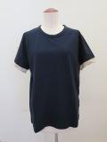 Y's YOHJI YAMAMOTO (ワイズ ヨウジヤマモト) 強撚天竺袖口ネジレTシャツ:ネイビー