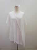 Y's YOHJI YAMAMOTO (ワイズ ヨウジヤマモト) コットンリヨセル天竺ドレープ半袖Tシャツ:ホワイト
