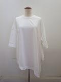 Y's YOHJI YAMAMOTO (ワイズ ヨウジヤマモト)綿天竺脇ドレープビッグTシャツ:ホワイト