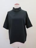 KEI Hayama PLUS(ケイハヤマプリュス) スーピマ天竺バイオ×トリコットシホン半袖ハイネックTシャツ:ブラック