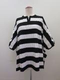 H.A.K (ハク) ヤーリングボーダー半袖ビッグTシャツ:ブラック×ホワイト