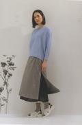KEI Hayama PLUS(ケイハヤマプリュス),メルタフタWL加工✖️スパンローン二重スカート:グレー