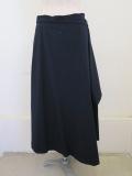 Y's YOHJI YAMAMOTO (ワイズ ヨウジヤマモト) 交織ツイルフレアラップスカート:ネイビー