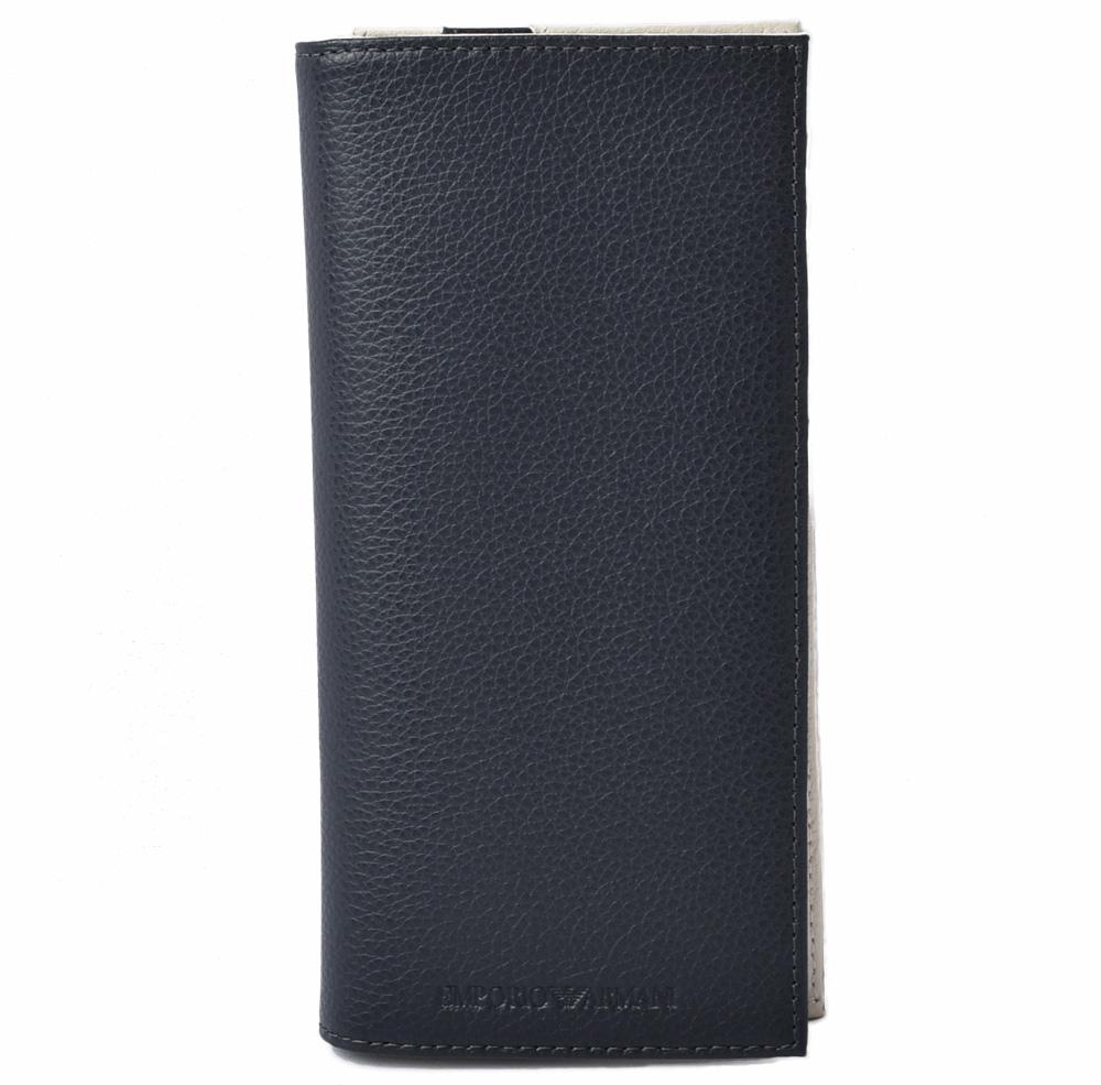 エンポリオアルマーニ 財布 EMPORIO ARMANI 長財布 型押しレザー ブルー/ベージュ Y4R170 YEW1E 86197