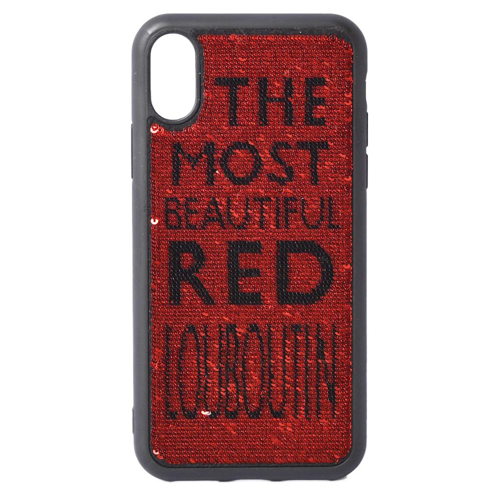 クリスチャンルブタン iPhoneXケース/iPhoneXsケース Christian louboutin スパンコール ブラック/ルビー 120588 Case Iphone アイフォンX/Xs