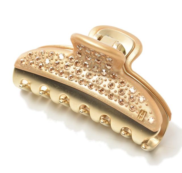 アレクサンドルドゥパリ ヘアクリップ/7.5cm Alexandre de Paris HAIR CLAW ラインストーン ゴールド/ゴールド ICCM-15571-04-X3