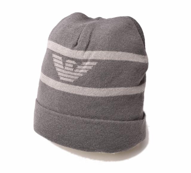 エンポリオアルマーニ ニットキャップ/帽子 EMPORIO ARMANI メンズ ビーニー/ニット帽 イーグル/グレー 6Z1408 1MA1Z F624