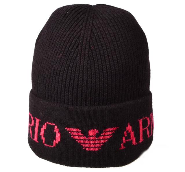 エンポリオアルマーニ ニットキャップ/帽子 EMPORIO ARMANI メンズ ビーニー/ニット帽 ロゴ ブラック/ピンク 637458 8A510 00020