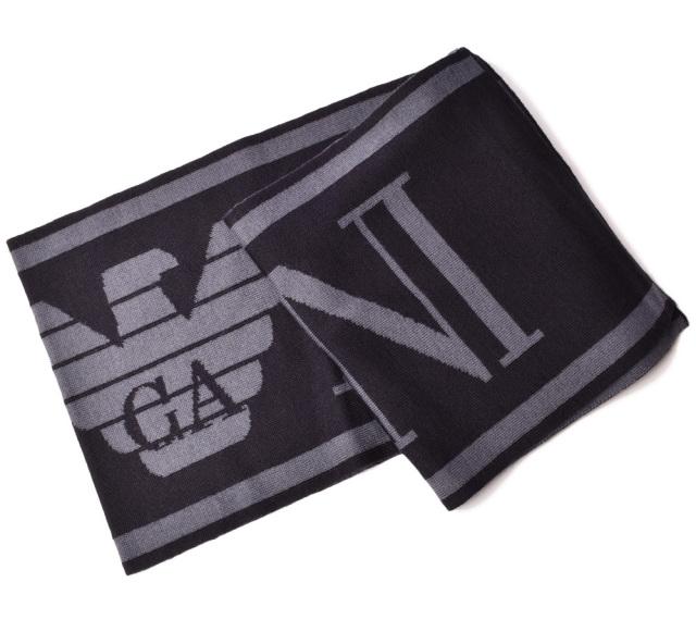 エンポリオアルマーニ マフラー/ウインタースカーフ/ストール EMPORIO ARMANI ロゴ ブラック 6Z1409 1MA1Z F949