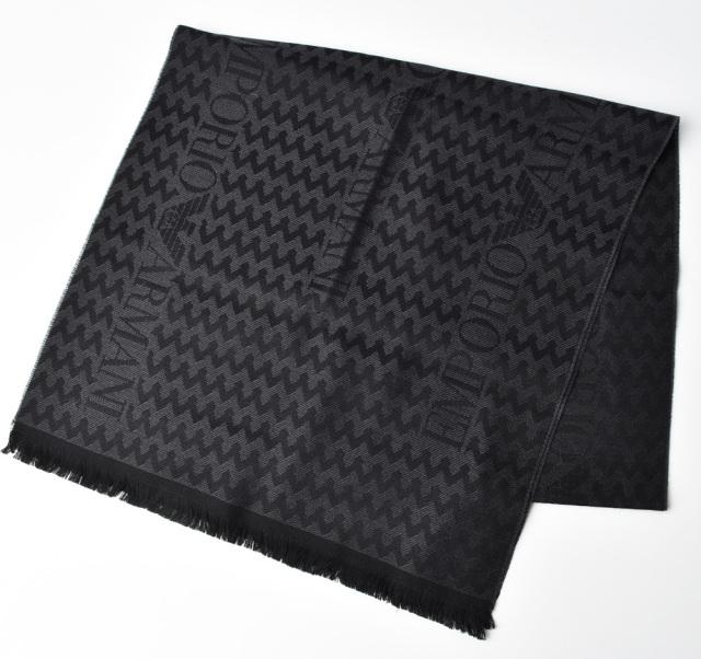 エンポリオアルマーニ マフラー/ウインタースカーフ/ストール EMPORIO ARMANI ロゴ グレー/ブラック 625064 9A390 00044