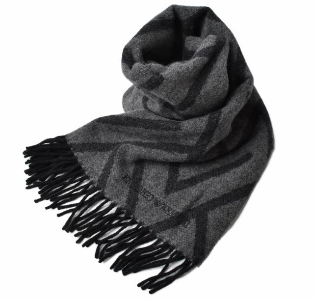 エンポリオアルマーニ ウインタースカーフ/ストール EMPORIO ARMANI ロゴ グレー/ブラック 625070 9A396 00041
