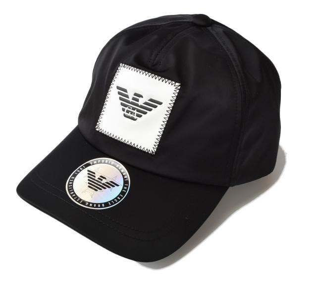 エンポリオアルマーニ キャップ/帽子 EMPORIO ARMANI メンズ ベースボールキャップ ロゴラベル/ブラック 627534 9A556 00020