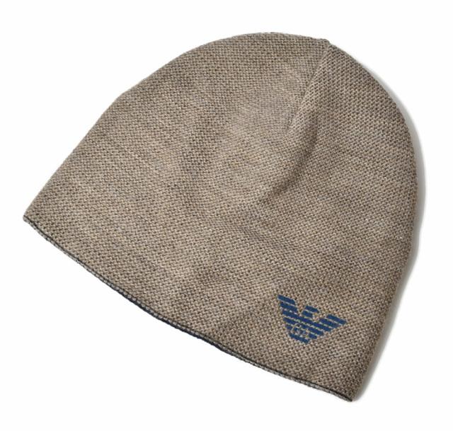 エンポリオアルマーニ ニットキャップ/帽子 EMPORIO ARMANI メンズ ビーニー/ニット帽 リバーシブル ブラウン/ブルー 627315 9A501 00013