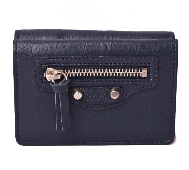 バレンシアガ ミニ財布/ミニコンパクトウォレット BALENCIAGA 折財布/CLASSIC クラシック ネイビー 477455 アウトレット