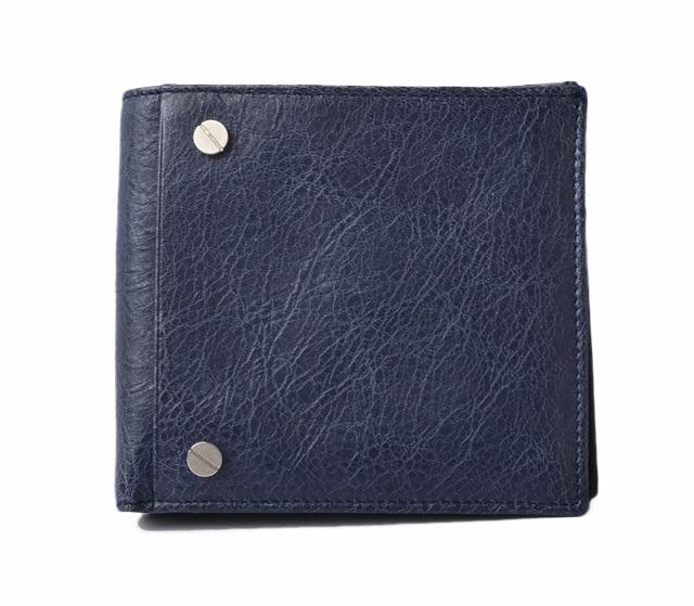 バレンシアガ 財布 メンズ  BALENCIAGA 札入れ/折財布 パスケース付 CLASSIC ネイビー 285886