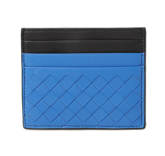 ボッテガヴェネタ カードケース/名刺入れ BOTTEGA VENETA イントレチャート ブルー/ブラック 162150 VAA0B 4387