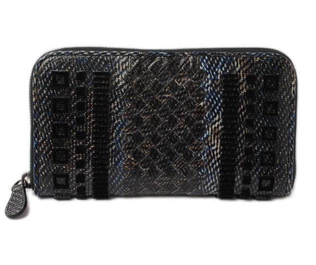 ボッテガ ヴェネタ 財布 BOTTEGA VENETA 長財布/ラウンドファスナー式 114076 ネイビーマルチ/ブラック