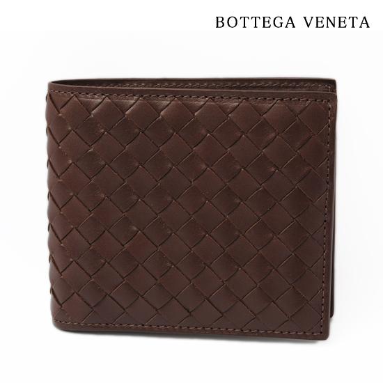 BOTTEGA VENETA ボッテガ ヴェネタ 2折財布 イントレチャート ブラウン 193642 V4651 2104【未使用】【アウトレット】【送料無料】