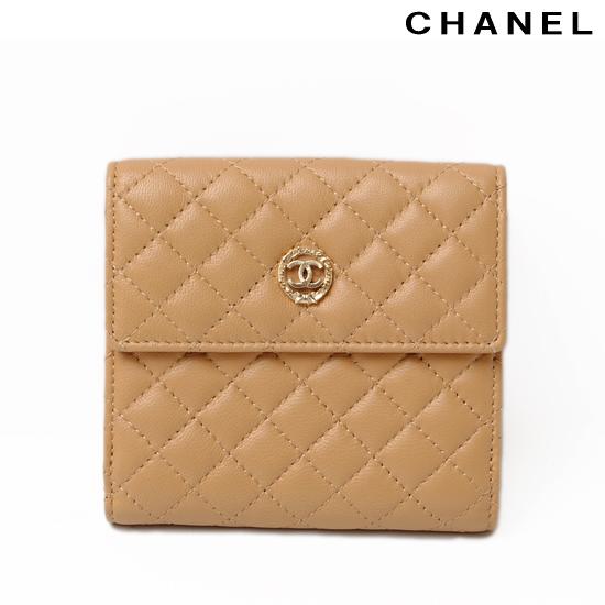 CHANEL シャネル ダブルホック式折財布 キルティング ベージュ/ベビーピンク A47503 新品 送料無料