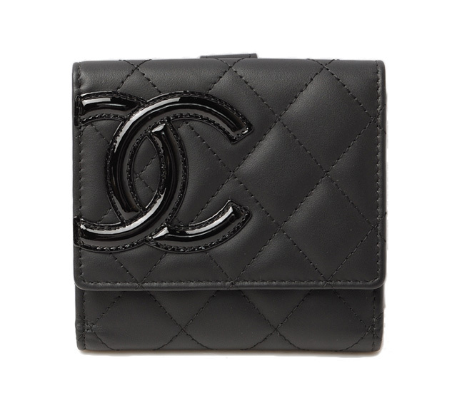 シャネル 財布 CHANEL 折財布 A50099 ダブルホック カンボンライン ブラック/ブラック 未使用