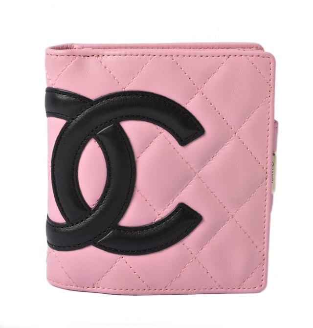 シャネル 財布 CHANEL がま口式 折財布 A26720 カンボンライン ピンク/ブラック【中古】