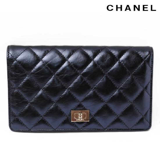 CHANEL シャネル 2折長財布 シャイニー マトラッセ ブルーメタリック A35304 新品 送料無料