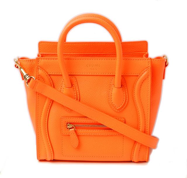 セリーヌ ハンドバッグ CELINE ナノショッパー ラゲージ フルオオレンジ 168243 ストラップ付 2way 未使用