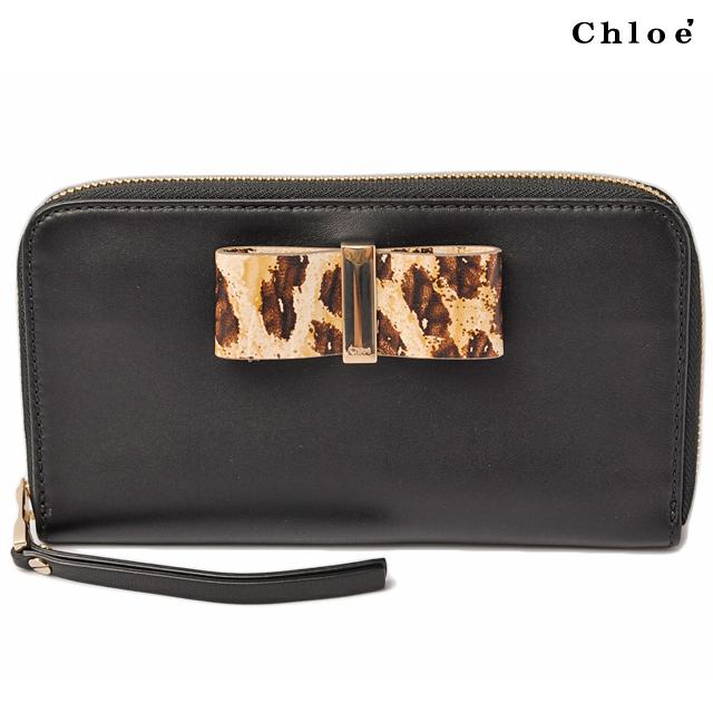 クロエ Chloe 長財布 ファスナー式 レザー ボウ BLACK/ブラック 3P0290-H2M リボン