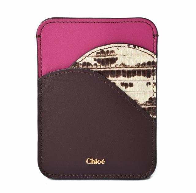 クロエ カードホルダー/カードケース Chloe WALDEN/クロコ型押し/レザー CHC19AP300B46079 ボルドー/ピンク