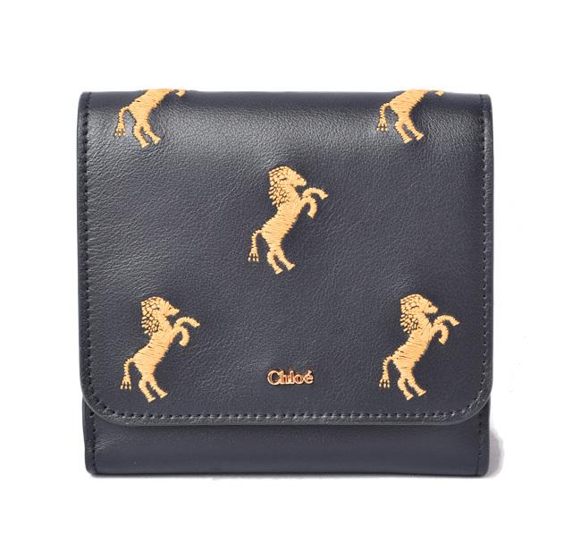 クロエ 財布 三つ折り Chloe 折財布 コンパクト ミニ ダークネイビー リトルホース/馬 刺繍 CHC18WP092A344D4 FULL BLUE