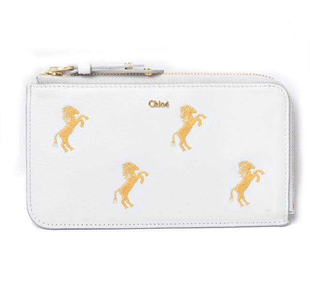 クロエ ミニ財布/コインケース/カードケース Chloe 財布 コンパクトミニ リトルホース/馬 刺繍 ホワイト/ゴールド