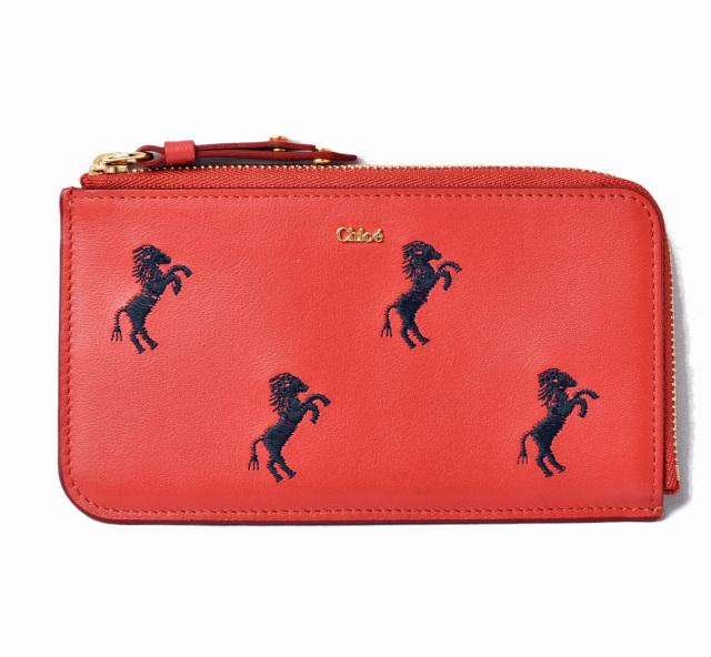 クロエ ミニ財布/コインケース/カードケース Chloe 財布 コンパクトミニ リトルホース/馬 刺繍 バーミリオン/ブラック