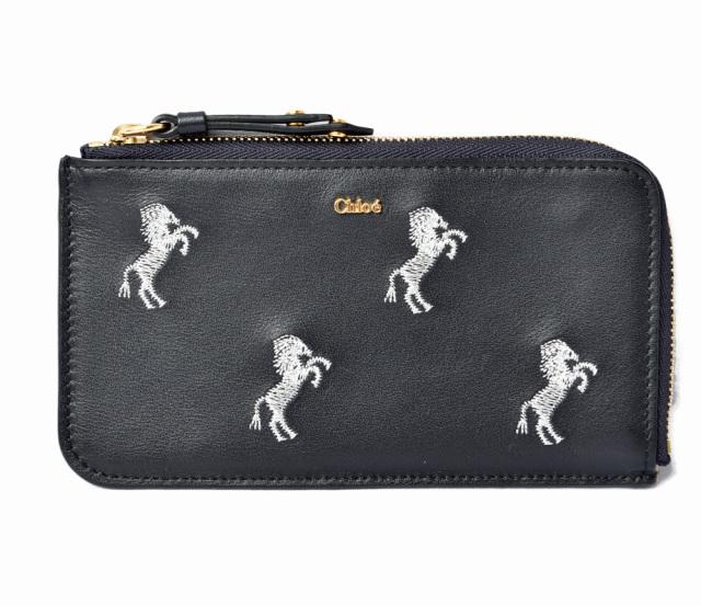 クロエ ミニ財布/コインケース/カードケース Chloe 財布 コンパクトミニ リトルホース/馬 刺繍 ブラック/シルバー