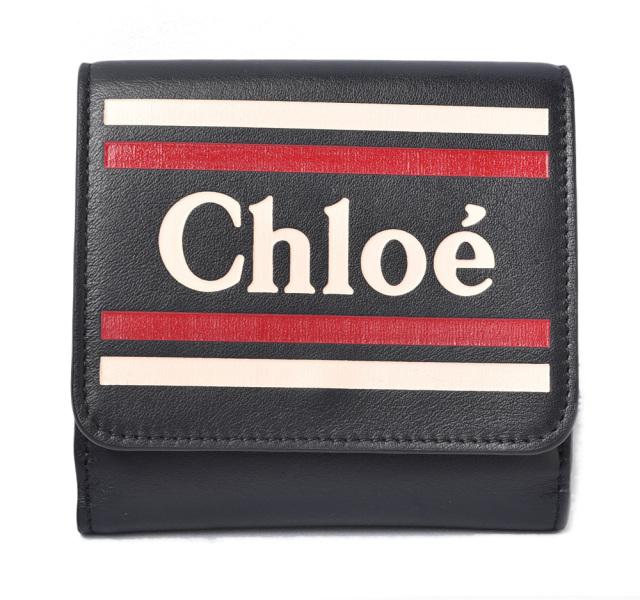クロエ 財布/ダブルホック Chloe 折財布 VICK/ヴィック FULL BLUE/ネイビー