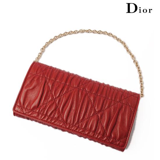Christian Dior クリスチャン・ディオール レディディオール チェーン付長財布 ギャザー ルージュ S0060OLCW【未使用】【送料無料】