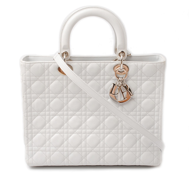 クリスチャン ディオール ハンドバッグ/ショルダーバッグ Christian Dior レディディオール カナージュ ホワイト CAL44560