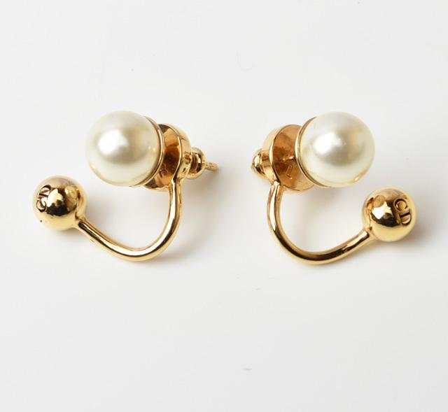 クリスチャン ディオール ピアス Christian Dior パール Gold/white ゴールド/ホワイト【中古】