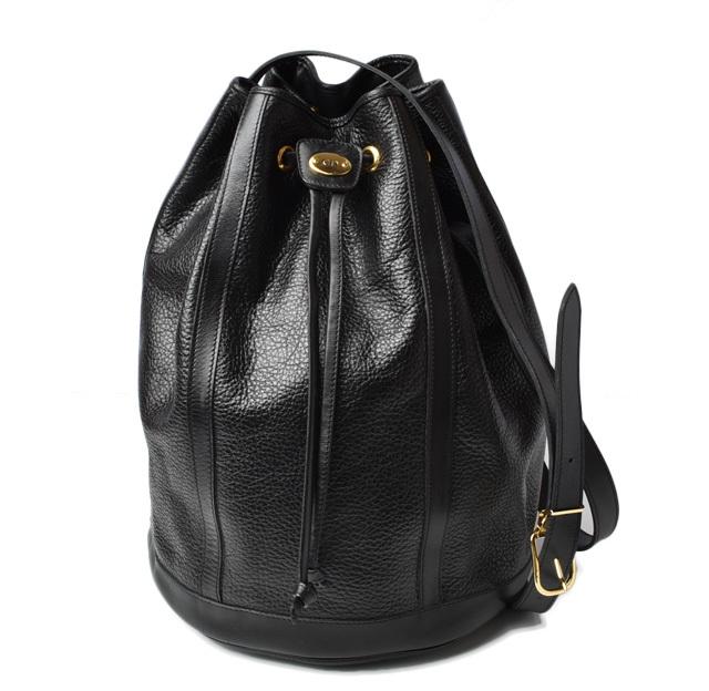 クリスチャンディオール ショルダーバッグ/巾着式バッグ Christian Dior ディオール ヴィンテージ レザー ブラック【中古】