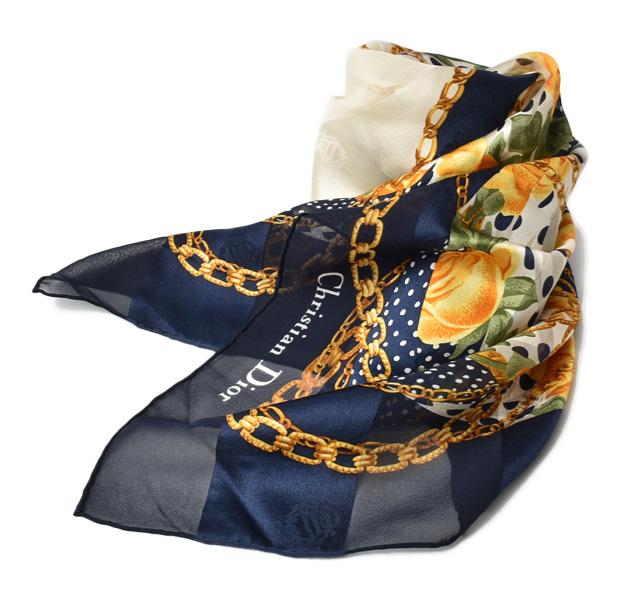 ディオール スカーフ Christian Dior スカーフ シルク フラワー/チェーン ネイビー系【中古】