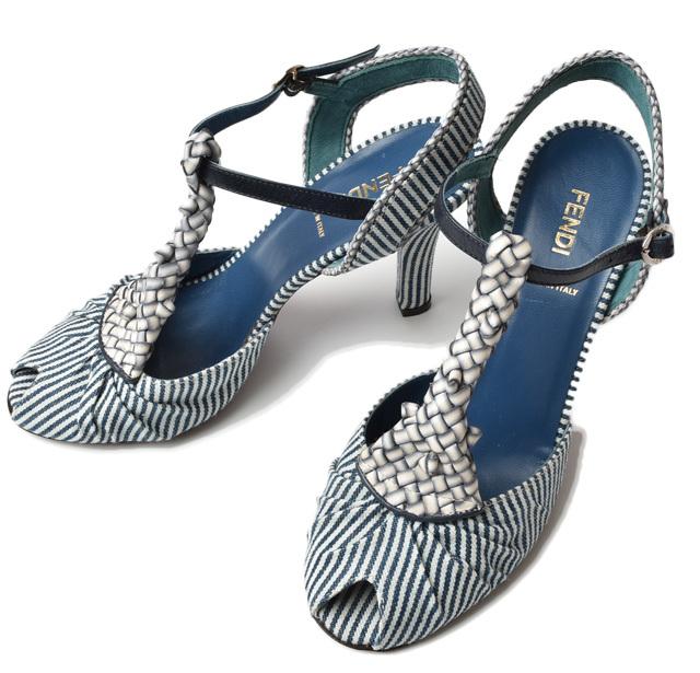 フェンディ サンダル シューズ FENDI 靴/レディース ♯36 アンクルストラップ デニム ストライプ【中古】