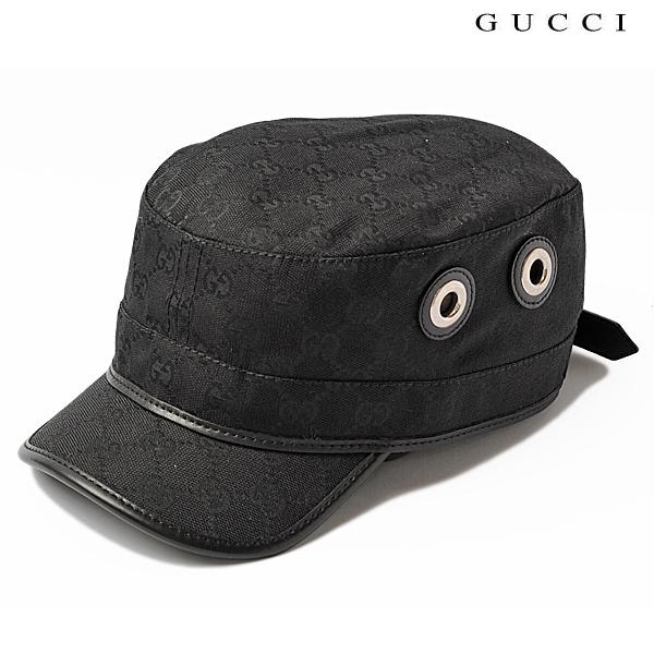 GUCCI グッチ ミリタリーキャップ/ワークキャップ/帽子 GGブラック/ブラック 200037 FCEKN 1000 新品 送料無料
