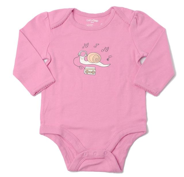 GAP ギャップベビー 家着 キッズ 女の子 出産祝い babyGAP ベビー女の子 アンダーウェア 長袖ボディ ピンク
