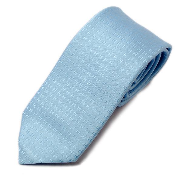 エルメス ネクタイ HERMES 030189T BLUE/ブルー系 Hロゴ シルク100% FACONNEE H