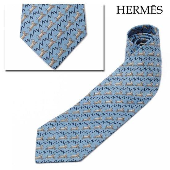 エルメス ネクタイ HERMES メンズ ネクタイ シルク100% ブルー/トープ 255456T 未使用【中古】