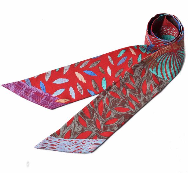 エルメス ツイリー スカーフ  HERMES シルクツイル バードモチーフ レッド/パープル系
