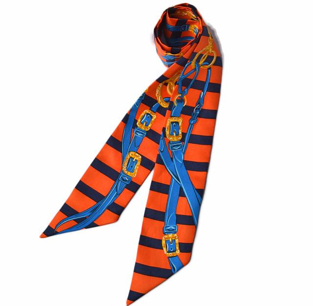 エルメス ツイリー スカーフ  HERMES シルクツイル ストラップモチーフ オレンジ/ブルー【中古】