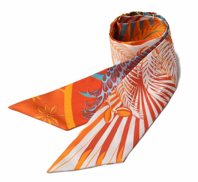 エルメス ツイリー スカーフ  HERMES シルクツイル フラワーモチーフ オレンジ/ライトブルー【中古】