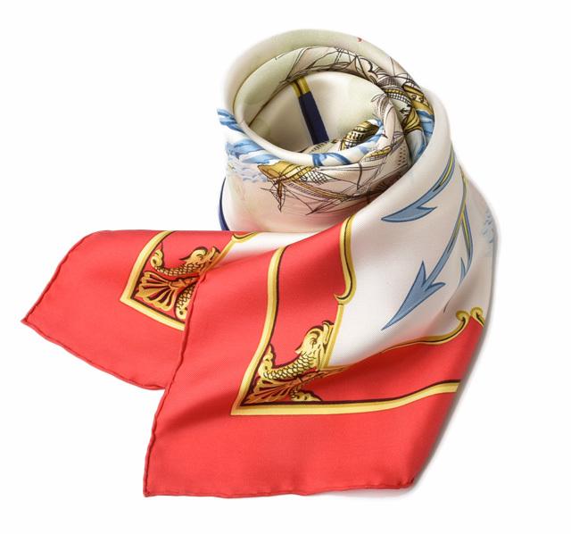 エルメス スカーフ HERMES スカーフ カレ90 シルクツイル マリン/ヨット レッド/ホワイト【中古】