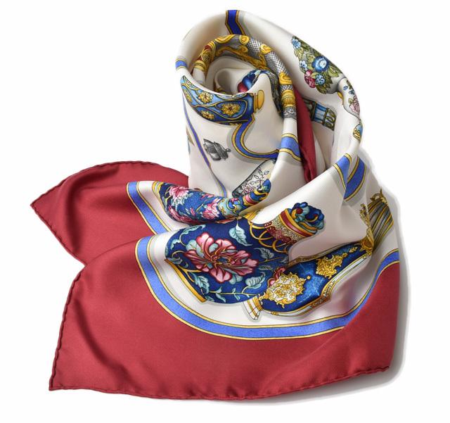 エルメス スカーフ HERMES スカーフ カレ90 シルクツイル 香水モチーフ ワイン/ホワイト 【中古】
